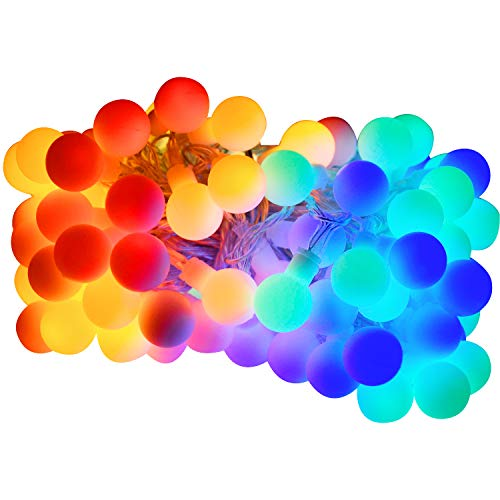 Luce della stringa,Tececu luce decorativa esterna 100 Palla LED USB,Catene Luminose 10M con 8 Modalità,per Interno/Esterno,Feste,Giardino,Natale,Matrimonio,Albero di Natale,Terrazzo