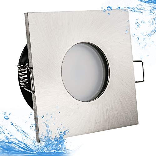 5Watt Power LED Badezimmer Einbaustrahler Lilly IP65 Strahlwassergeschützt 230Volt 5Watt Warmweiss Geprüft 400Lumen 3000Kelvin Einbauleuchte Wasserdicht Rostfrei Quadratisch Einbauspot Deckenleuchte