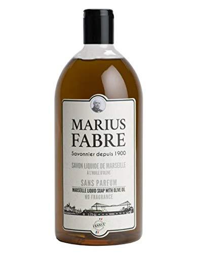 Marius Fabre - Savon liquide de Marseille sans parfum 1L. Recharge d'un litre. Fabriqué à base d'huile d'olive et d'huile de coprah