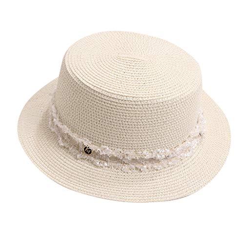 DOLDOA Hut Damen Sommer,Damen Sommer England Zylinder Sonnenblende Sonnen Strand Hut (Silber)