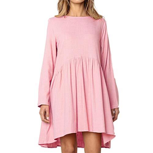 ESAILQ Frau Herbst-Langarm-Knopf-Taschen Beiläufiges Kleid(S,Rosa)