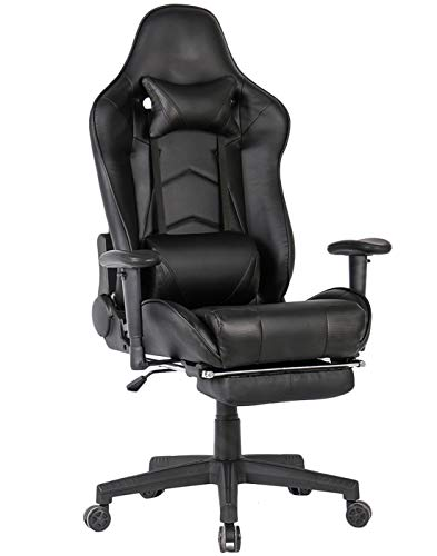 Gaming Chair with Footrest Ergonomic Computer Gaming Chairs Video Game Chair PC Racing Computer Chair for Gamer with Lumbar Support (Black with Footrest) chair footrest gaming