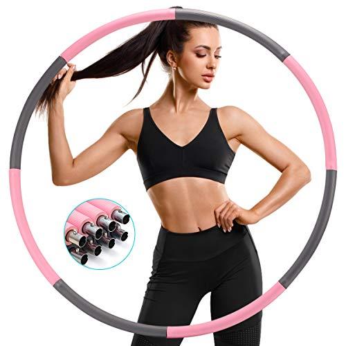 SAWAKE Hula Reifen Fitness Erwachsene Hoop zur Gewichtsreduktion, Hula Reifen Hoop 1,2 kg mit Eva Schaumstoff und Bandmaß, Abnehmbarer Hula Fitnessreifen für Fitness/Sport/Zuhause/Büro/Bauchformung