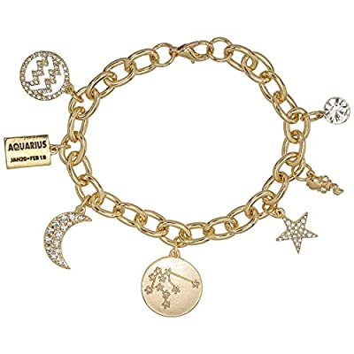Personalization Collection Gold Plated Zodiac 'Aquarius' Constellation Symbol, Name Plate, Moon, Constellation, Star, and Stone Charm Chain Bracelet for Women