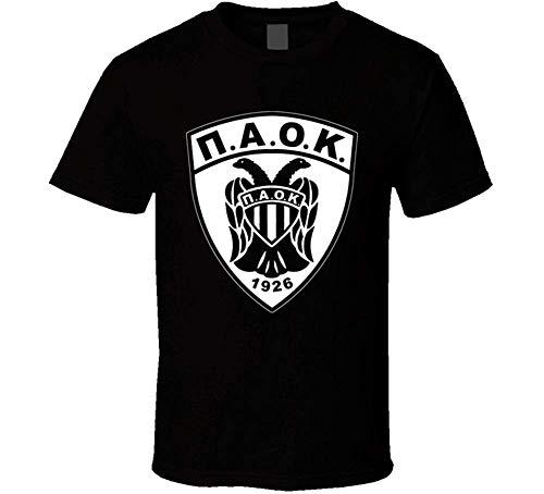 Unisexo Fútbol Griego Paok Negro Hombres Mujeres Cuello Redondo Camiseta Manga Corta 3XL