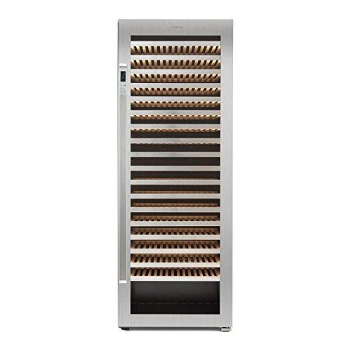 Klarstein Botella 300S - frigorifero per vini e bevande, 642 L, 303 bottiglie, 18 ripiani in legno, Pannello touch, display LCD, porta in acciaio inox, Classe energetica A, Nero-argento