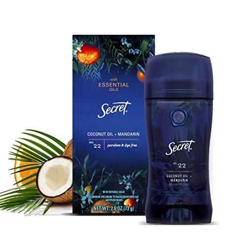 Secret Antiperspirant Deodorant for Women With Pure Essential Oils, Paraben Free, Coconut Oil & Mandarin Scent, 2.6 Oz