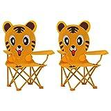 2er Set Kinder Gartenstuhl Klappstuhl Campingstuhl Klappbar Balkonstuhl Faltstuhl Garten-Essstühle Terassenstuhl für Garten Balkon Camping Terrasse, Gelb Stoff