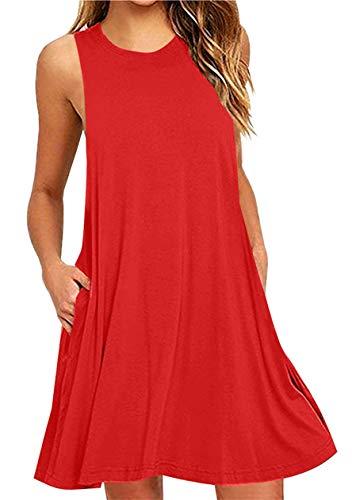 OMZIN Damen Strandkleid Übergröße Ärmellos Shirtkleid mit Taschen Rundhals Vestkleid Rot XXXL