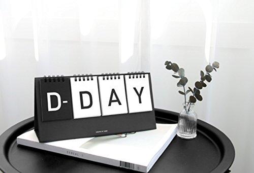 ICONIC Calendario de día D – Tapa de alambre para calendario de escritorio perpetuo y calendario de escritorio de día D (negro)