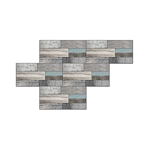 Estufa de cocina a prueba de aceite grano de madera efecto especial azulejo de cerámica parche de pvc impermeable 30X15cm 12 piezas