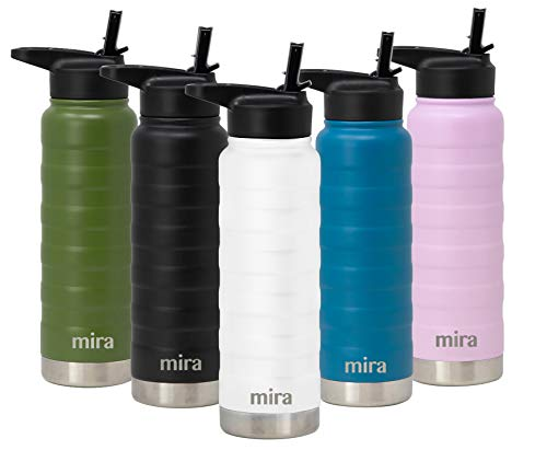 MIRA 25 Oz Stainless Steel Vacuum Insulated Water Bottle with Straw Lid - Double Walled Thermos Flask - Reusable Metal Hydro Bottle - Leak-Proof Sports Bottle - White