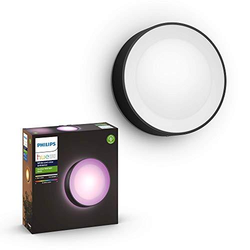Philips Hue White and Color Ambiance LED Außenwandleuchte Daylo, dimmbar, bis zu 16 Millionen Farben, steuerbar via App, kompatibel mit Amazon Alexa (Echo, Echo Dot), schwarz
