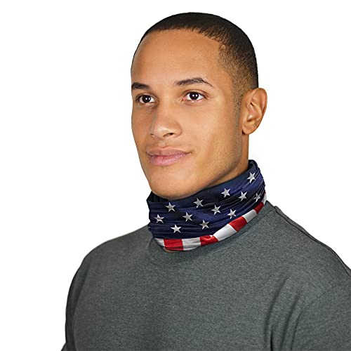 Mission Cooling Compact Neck Gaiter 6+ Ways to Wears, Face Mask, UPF 50, Cools When Wet- USA Flag