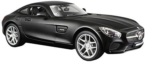Maisto Mercedes AMG GT: getrouwe modelauto met deuren en motorkap om te openen, schaal 1:24, klaar model, 19 cm, zwart (531134M)