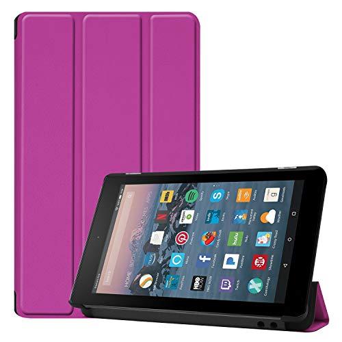RKINC Case for Amazon Kindle Fire 7, Trifold Smart Lightweight Cover with Auto Sleep/Wake, Hard Back Case for All-New Amazon Kindle Fire 7 Tablet (9th Gen & 7th Gen, 2019/ 2017 Release)(Purple)
