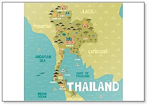 Geïllustreerde kaart van Thailand met steden en bezienswaardigheden Illustratie Koelkast Magneet