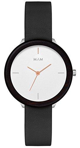 MAM Originals · Stainless Light Ebony Night   Reloj de Mujer   Diseño Minimalista   Creado con Madera de ébano sostenible y Acero Inoxidable Reciclado