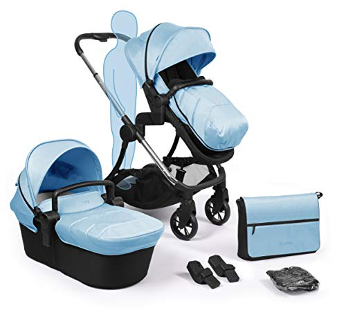 iCandy Lime Plus Chrome Pushchair Carrycot and Matching Bag and Duo Pod Set, Glacier