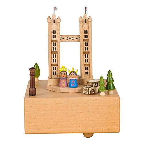 VSander Tower Bridge Hölzerne Spieluhr Clockwork Drive Buche Kinderhandwerk Kreative Geschenke Geburtstagsgeschenk Valentinstagsgeschenk Pure Musik