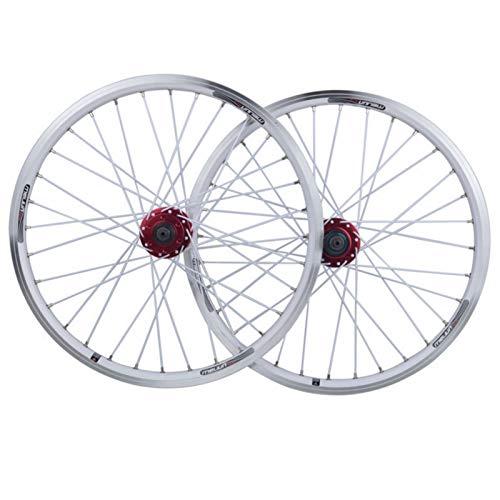 ZNND Juego Ruedas Bicicleta Plegable de 20 Pulgadas,32 Hoyos Aleación de Aluminio Liberación Rápida V Llanta de Freno Disco de Freno 406 Rueda Bicicleta (Color : White)