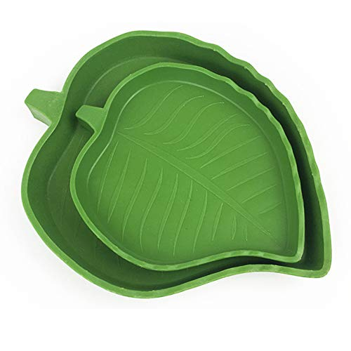 Cyleibe Leaf Shape Reptile Food Bowls, Food Feeding and Water Dish Plate for Reptiles and Crawl Pet, Tortoise, Snake, Gecko, Lizard, Hamster