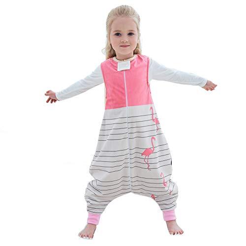 Baby Schlafsäcke mit Beinen und Füßen Ganzjahres Kleinkinder Schlafsack mit Reißverschluss Ärmelloses Schlafanzug für mädchen und Junge, Rosa 1-3 Jahre