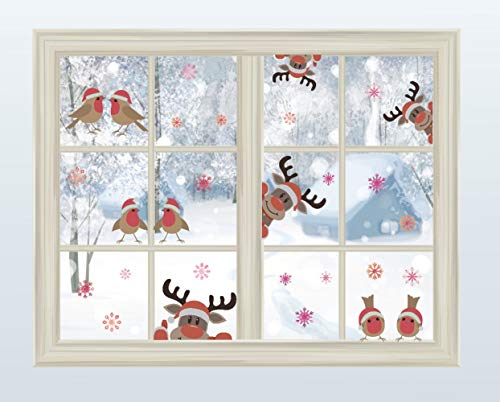 Reindeer Wall Decal with Birds Snowflake Wall Decal ?Christmas Sticker for Car Decoration?Window Cling Decal?Christmas Home Decals (29 pcs)