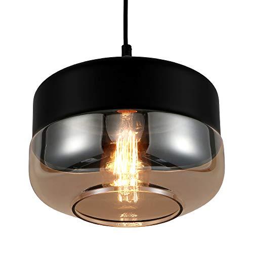 Europa loft moderno appeso lampada a sospensione in vetro di colore ambra  nera infissi E27 luci a sospensione a LED cucina ristorante bar soggiorno  ...