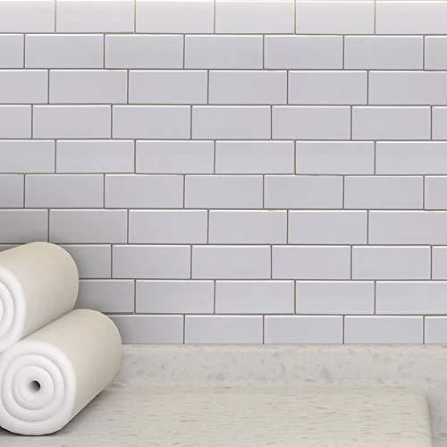 LUOWAN 10 hojas de vinilo decorativo para azulejos de baño y cocina, 30,5 x 30,5 cm (blanco)