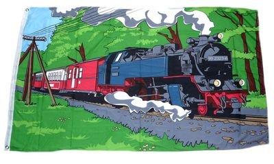 Fahne / Flagge Eisenbahn Dampflok NEU 90 x 150 cm
