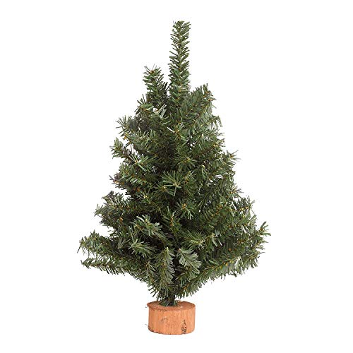 Holiday Essentials Tabletop Christmas Tree - 15 Inch Artificial Pine Christmas Tree with Wood Base