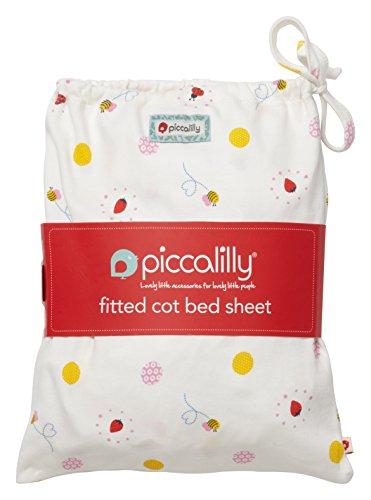 Piccalilly Windeltuch Bio Baumwolle rot und gelb Baby Mädchen Marienkäfer Print Spannbetttuch Kinderbett in eine Tasche