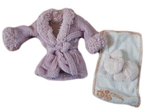 fat-catz-copy-catz Violet Compatible avec Barbie de poupée Tissu éponge Jouet Peignoir Habillage Chemise de Nuit Costume & Pantoufles