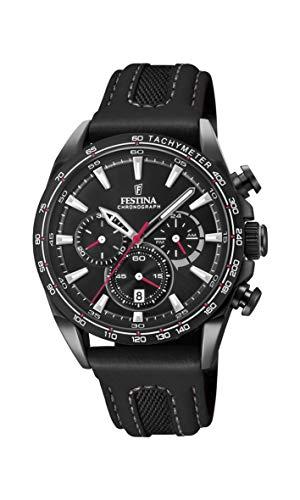 Festina Unisex Erwachsene Chronograph Quarz Smart Watch Armbanduhr mit Leder Armband F20351/3