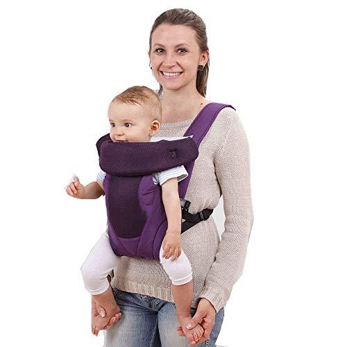 YUMEIGE Babytragen Babytragen, Dreipunktaufstellung, Babybauchtragen, Babytrage für Baby, Atmungsaktives 3D-Mesh (Color : Purple)