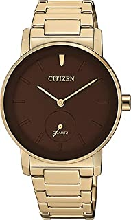 Citizen Quartz Standard Stainless Steel with Rose Gold Plating Brown Dial watch EQ9063-55X