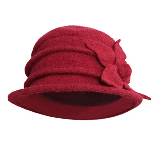 CHIC-CHIC Damen Wannen Hut Elegant Vintage Wintermütze Blumen Trilby Hut Billycock Derby (Rot)
