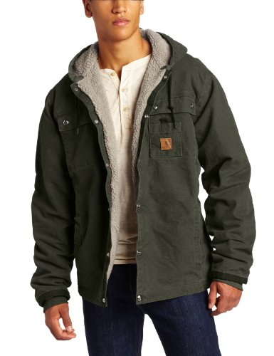 Carhartt Men's Big & Tall Sherpa Lined Sandstone Hooded Multi Pocket Jacket J284,Moss,XXXX-Large