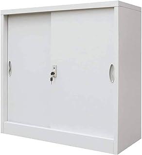 Wakects Armoire pour bureau, armoire vestiaire avec portes coulissantes, armoire métallique en acier, pour les documents d...