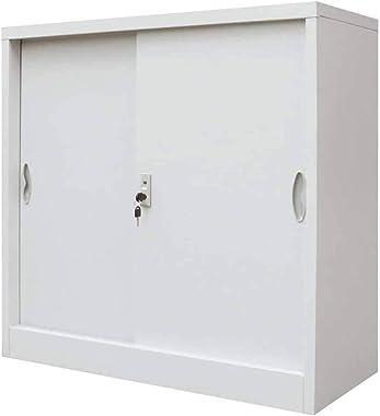 Wakects Armoire pour bureau, armoire vestiaire avec portes coulissantes, armoire métallique en acier, pour les documents de b