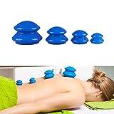 Copas Masaje Anti Celulitis, 4 Piezas Masajeador Anticelulítico Ventosa Jarra de Vacío Masajeador Herramienta, Ahuecamiento Masaje de Ventosas Terapia,Azul,4 PCS