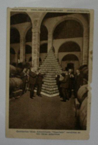 Antigua postal publicidad. Old advertising post card. Pedro Domecq; vinos, coñac, grand vin y anís. Jerez de la Frontera. Quinientos litros Amontillado Napoleón vendidos en mil libras esterlinas.