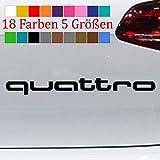 generisch Quattro Schriftzug A4 A6 Aufkleber Autoaufkleber Sticker Logo 18 Farben 5 Größen 70-Schwarz L-23x2,5cm