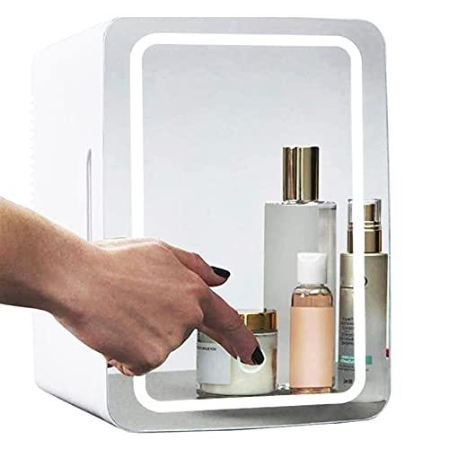 NMVB Mini refrigerador 8 litros, 37dB Mini Maquillaje Frigorífico portátil Cosmético refrigerador Compacto Vidrio Panel de Vidrio LED Frigorífico de la luz Frigorífico para el Dormitorio Dual Uso