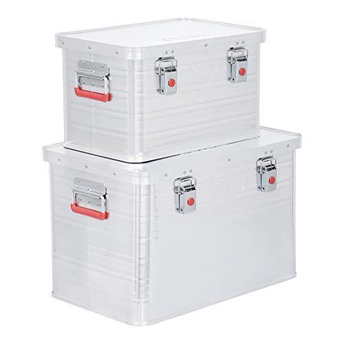 STIER Alubox Set, 30L und 65L, stapelbare Transportkisten, Staub- und spritzwasserresistent mit Gummidichtung und Klapphandgriffen