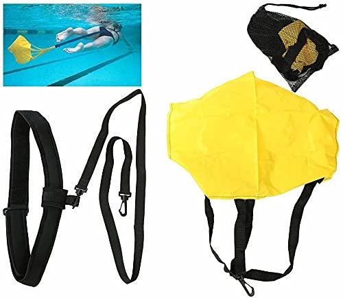 KIKILIVE schwimmgurt für Pool schwimmtrainer Pool,Swim Parachute Schwimm Fallschirm Set Schwimmkrafttraining Resistance Belt mit Drag Parachute für Erwachsene und Kinder