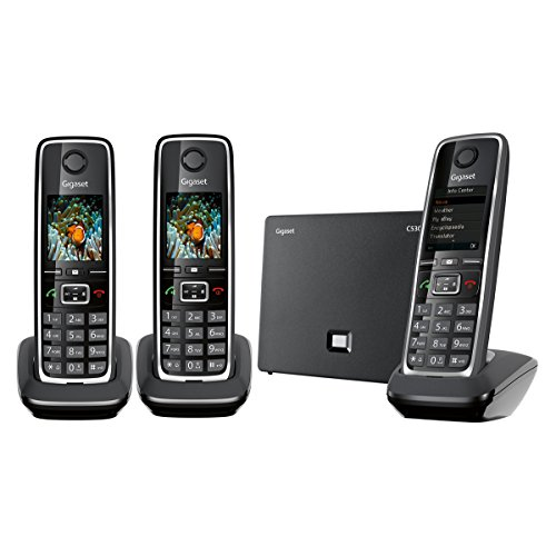 Gigaset C530 IP Trio - Teléfono inalámbrico (3 terminales, DECT, híbrido), Color Negro [Versión Importada]