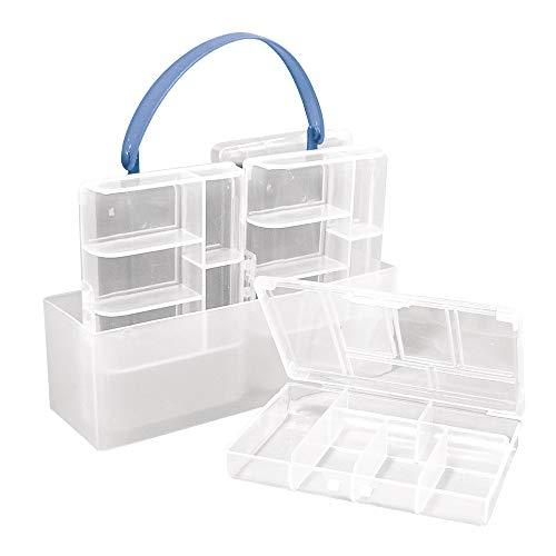 Rayher 8915800 Sortier-/Aufbewahrungsbox, mit 4 kleinen Boxen a 12 x 8 x 2,3 cm, Tragegriff, transparent, Kleinteile sortieren, ordnen, aufräumen und aufbewahren, für Kinder und Erwachsene
