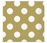 Unique Party- Dots Paper Napkins Tovaglioli di Carta in Set da 16, Oro (Dorato), Confezione, 37291